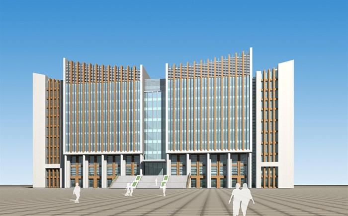 某大学图书馆建筑设计cad方案及效果图[原创]
