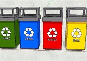 现代风格分类垃圾箱组合SU(草图大师)模型
