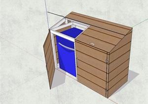 现代分类垃圾箱素材设计SU(草图大师)模型