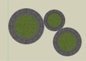 地面瓦片铺地设计SU(草图大师)模型