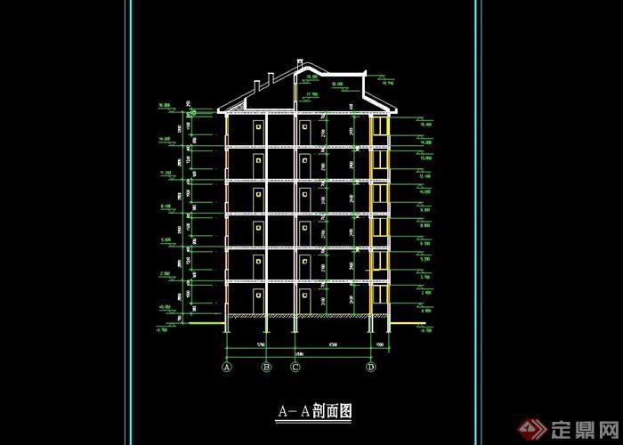 北馨住宅楼设计cad平立面图[原创]