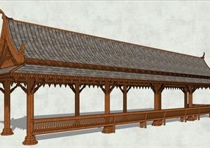 中式古典长廊架素材设计SU(草图大师)模型