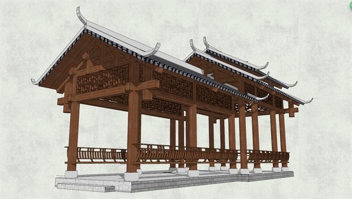 中式古典长廊亭设计su模型[原创]