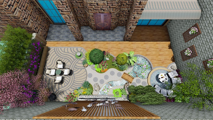 中式庭院详细景观su模型