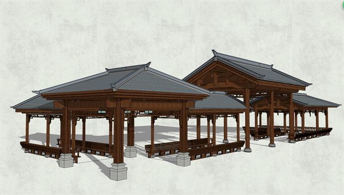 中式古典廊亭组合设计su模型[原创]