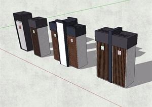 现代风格四种分类垃圾箱SU(草图大师)模型