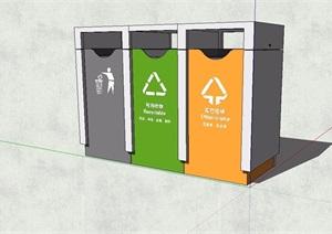 现代分类垃圾箱素材SU(草图大师)模型