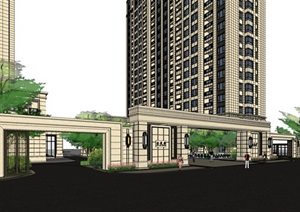 某现代风格详细完整的住宅小区建筑SU(草图大师)模型