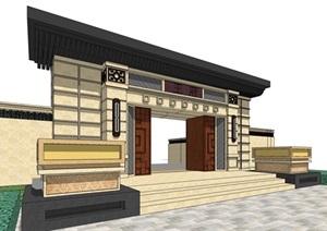 新亚洲古典风格详细的大门SU(草图大师)模型
