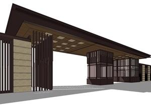 新古典风格详细完整的围墙大门SU(草图大师)模型