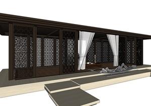 新中式围墙入口大门素材SU(草图大师)模型