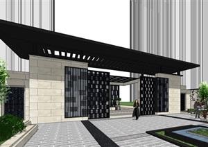 新中式围墙小区大门SU(草图大师)模型