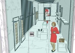 精品服装店空间设计SU(草图大师)模型