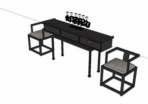 中式古典风格桌椅SU(草图大师)模型