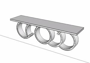 中式古典风格木质桌子SU(草图大师)模型