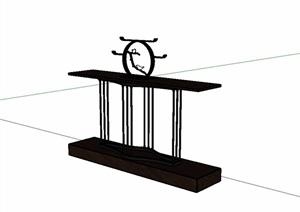 古典中式风格木质桌子SU(草图大师)模型