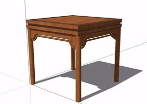 中式风格详细完整的木质桌子设计SU(草图大师)模型