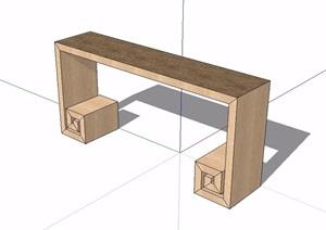 中式风格简单案台SU(草图大师)模型