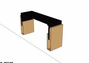 古典中式木质案台设计SU(草图大师)模型