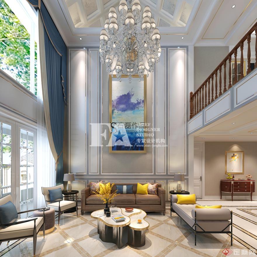 客厅 沙发背景墙 现代欧式风格 装修效果图 曲江香都 复式