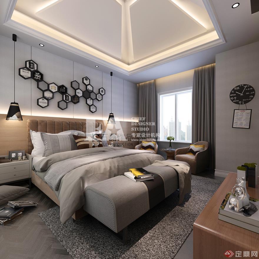 卧室 现代欧式风格 装修效果图 曲江香都 复式