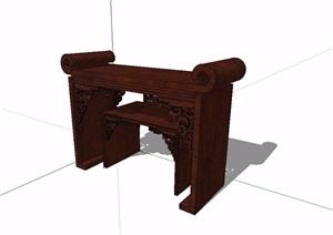 古典中式风格案台详细设计SU(草图大师)模型