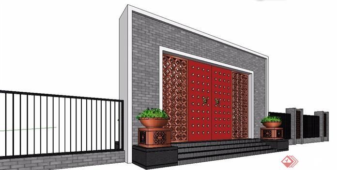 新中式围墙院墙小区入口大门su模型[原创]图片