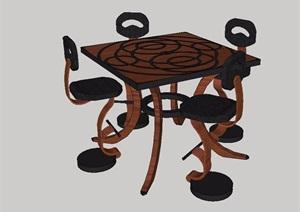 现代风格详细完整的桌椅SU(草图大师)模型