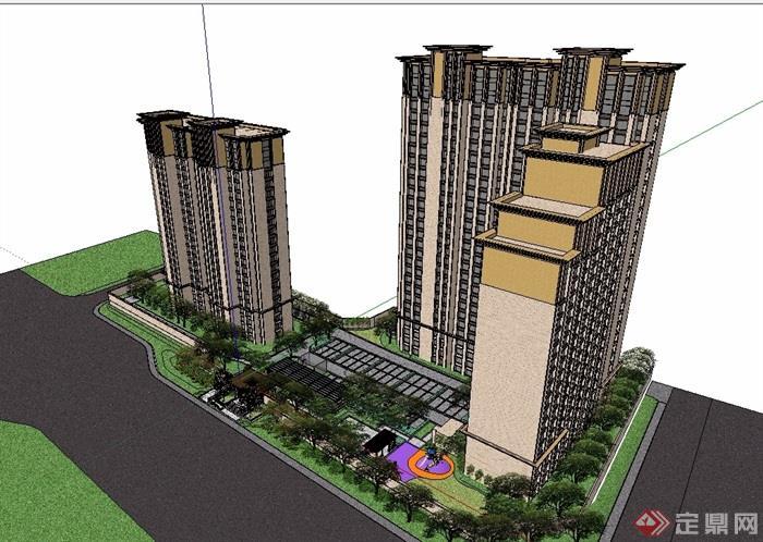 高層詳細的小區住宅樓設計su模型[原創]