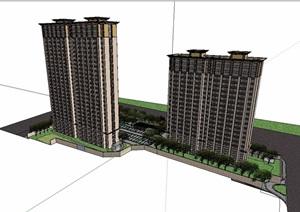 高层详细的小区住宅楼设计SU(草图大师)模型