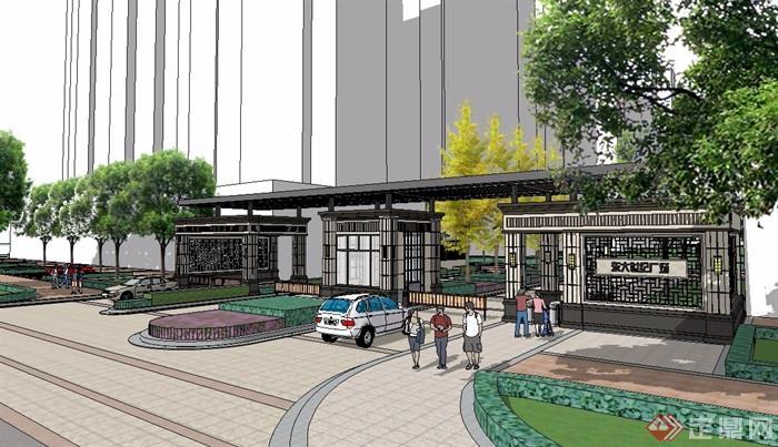 新中式围墙入口小区大门su模型[原创]图片