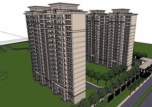 某现代风格详细住宅高层楼设计SU(草图大师)模型