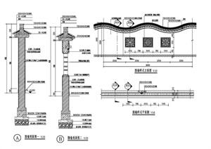 中式风格弧形围墙设计cad施工图