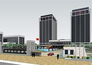 行政中心详细高层建筑设计SU(草图大师)模型