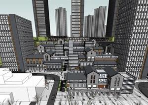 精致现代中式办公住宅综合楼SU(草图大师)模型