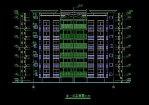 现代详细多层住宅楼cad平立面方案