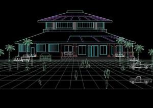 经典中餐厅建筑cad方案图