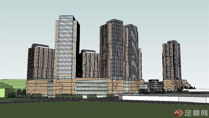 某详细高层商业办公建筑楼su模型[原创]