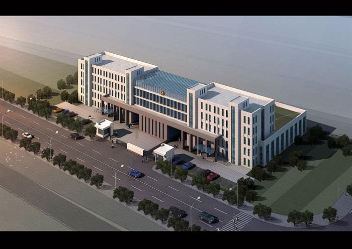 某开发区派出所公安局办公楼全套施工图及效果图设计(1)