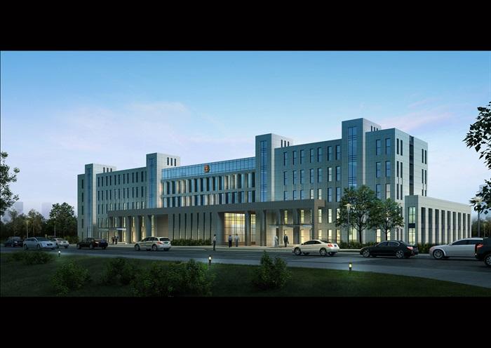 某开发区派出所公安局办公楼全套施工图及效果图设计(2)