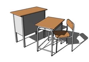 现代详细桌椅组合SU(草图大师)模型