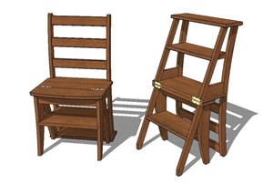 现代风格全木质座椅SU(草图大师)模型