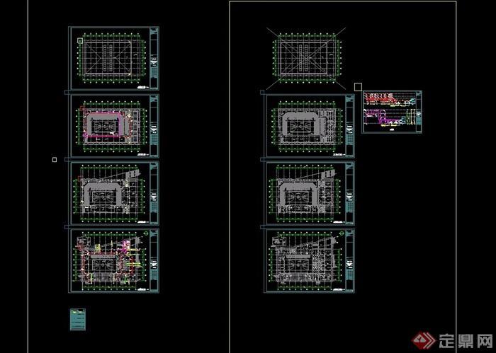 天台职业中专建筑设计cad方案及效果图