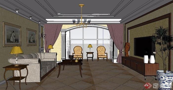 欧式详细家装室内设计su模型