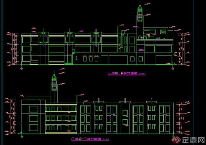 欧式风格多层幼儿园建筑cad方案[原创]