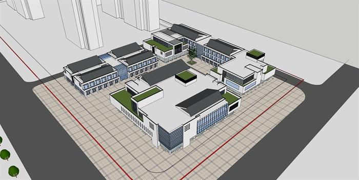 某新中式商业街区方案设计(cad,su模型,效果图)[原创]
