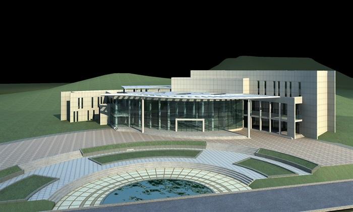 某游客服务中心建筑方案设计(CAD平立剖、效果图)(2)