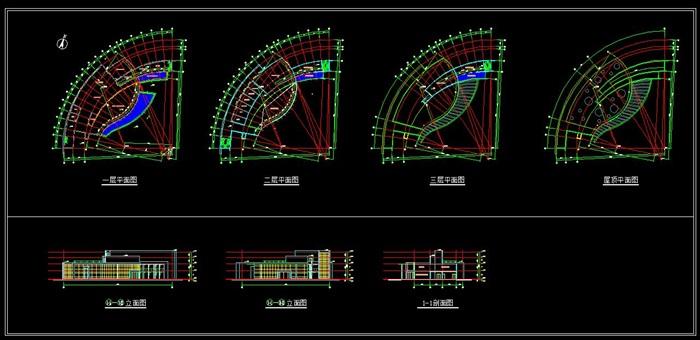 某游客服务中心建筑方案设计(CAD平立剖、效果图)(3)