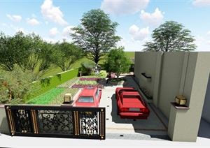 某庭院花园详细景观设计SU(草图大师)模型