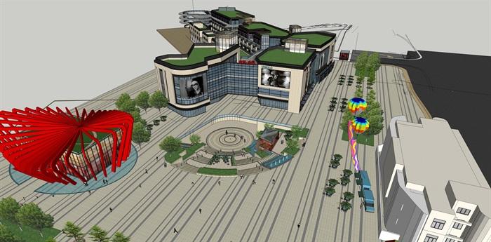 详细现代风格商业住宅楼详细设计su模型